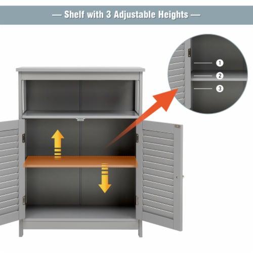 Costway Bathroom Storage Cabinet Wood Floor Cabinet w/ Double Shutter Door Gray Perspective: left