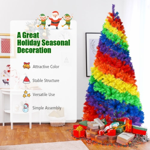 Costway 7FT Artificial Hinged Colorful Rainbow Full Fir Christmas Tree with 1213 Tips Perspective: left