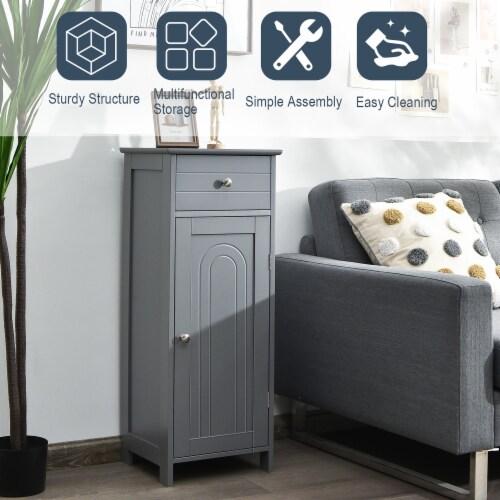 Costway Bathroom Floor Cabinet Storage Organizer Free-Standing w/ Drawer Grey Perspective: left