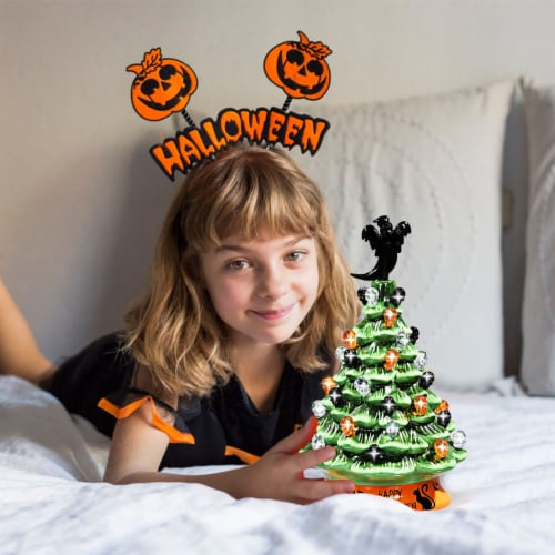 Costway 11.5'' Pre-Lit Ceramic Hand-Painted Tabletop Halloween Tree Battery Powered Green Perspective: left