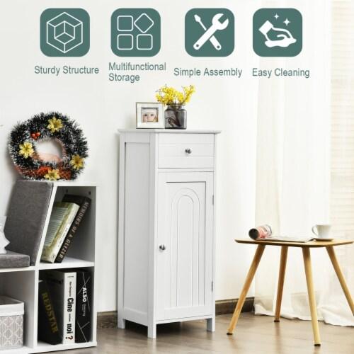 Costway Bathroom Floor Cabinet Wooden Storage Organizer Free-Standing w/ Drawer & Shelf Perspective: left