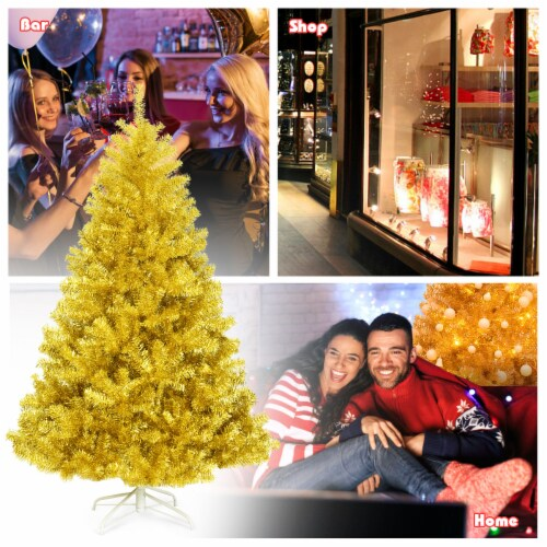 Costway 6ft Artificial Tinsel Christmas Tree Hinged w/1036 Tips Foldable Stand Champagne Perspective: left