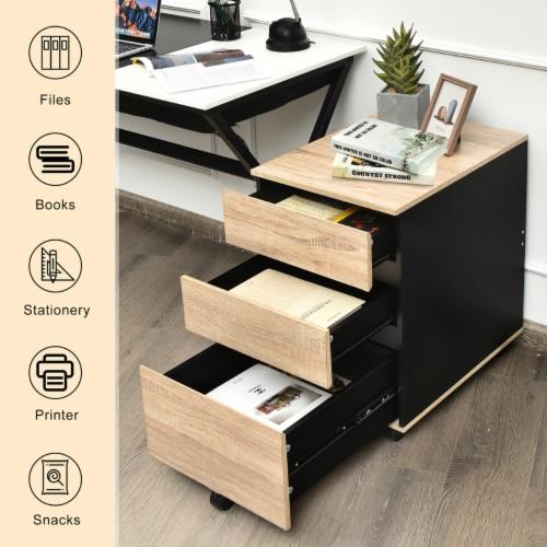 Costway 3-Drawer Mobile File Cabinet Vertical Filling Cabinet for Home Office Perspective: left