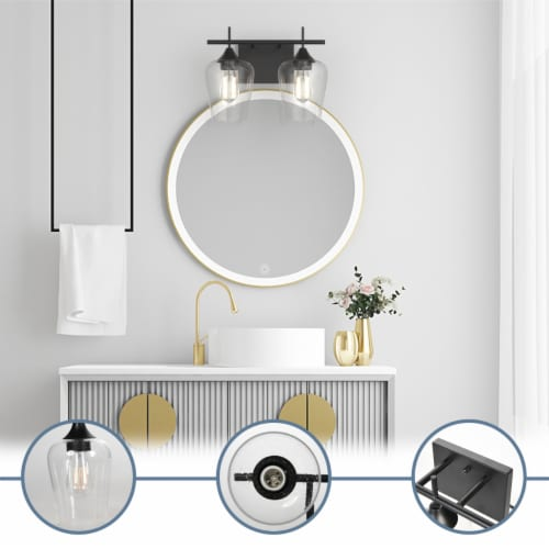 Costway 2-Light Wall Sconce Modern Bathroom Vanity Light Fixtures with Clear Glass Shade Perspective: left