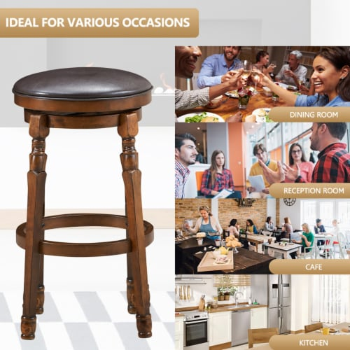 Costway Set of 2 29'' Swivel Bar Stool Leather Padded Dining Kitchen Pub Chair Backless Perspective: left