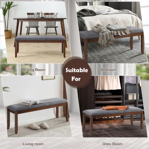 Costway Dining Bench Upholstered Entryway Bench Footstool Kitchen w/ Wood Legs Perspective: left