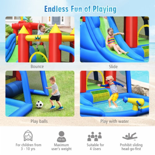 Costway Inflatable Bouncer Water Slide Bounce House Splash Pool without Blower Perspective: left