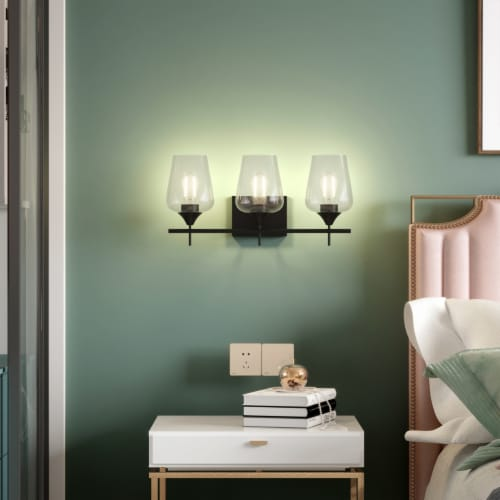 Costway 3-Light Wall Sconce Modern Bathroom Vanity Light Fixtures with Clear Glass Shade Perspective: left
