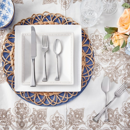 Hampton Forge Ainsleigh Stain Flatware Set - Silver Perspective: left