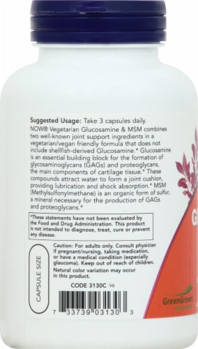 Now Vegetarian Glucosamine & MSM Veg Capsules Perspective: left