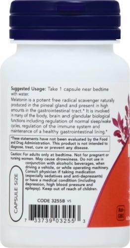 NOW Foods Melatonin 3mg Veg Capsules Perspective: left