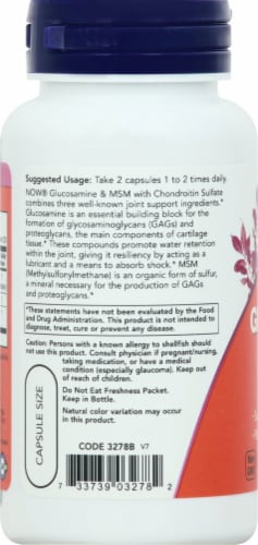 Now Glucosamine & MSM Vegetarian Capsules Perspective: left