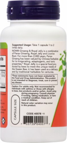 NOW Foods Ginseng & Royal Jelly Capsules Perspective: left