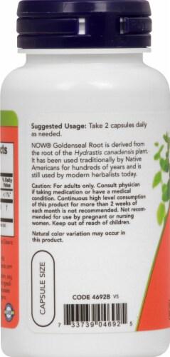 NOW Foods Goldenseal Root Herbal Supplement Capsules 500mg Perspective: left