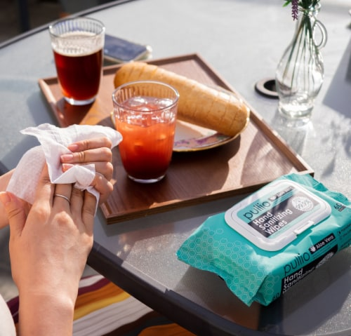 pullio 5PK Hypoallergenic Hand Wipes - Aloe Alcohol Free Hand Sanitizer(300 Wet Wipes) Perspective: left