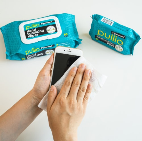 pullio - 3 Packs of Hand Sanitizer Wet Wipes 60ct - Peppermint Antibacterial Hand  Wipes Perspective: left