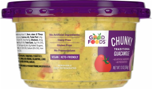 Good Foods Chunky Traditional Guacamole Perspective: left