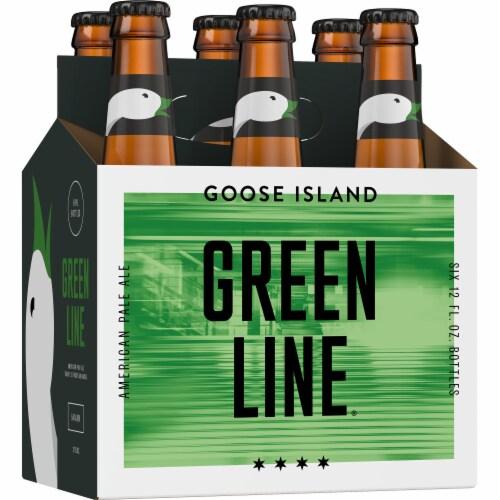 Goose Island Green Line Pale Ale Bottles Perspective: left