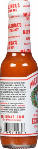 Melindas Extra Hot Pepper Sauce Perspective: left