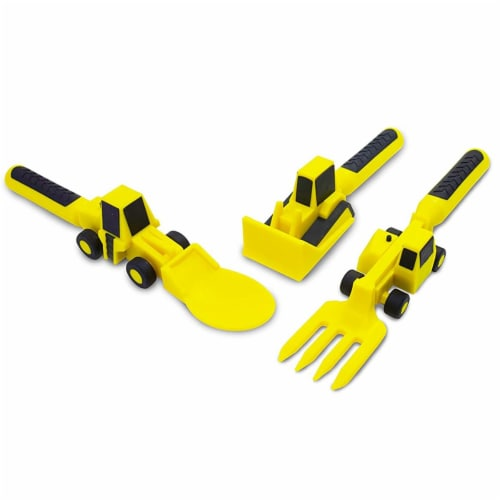 Constructive Eating Construction Themed Plate and Shaped Utensils Perspective: left