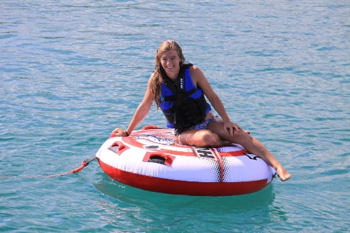 Airhead AHHS-12 Hot Shot 2 Inflatable Round Deck Single Rider Towable Lake Tube Perspective: left
