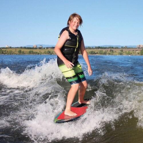 Airhead Pfish Beginner to Advanced 2 Fin Skim Style Water Wakesurf WakeBoard Perspective: left