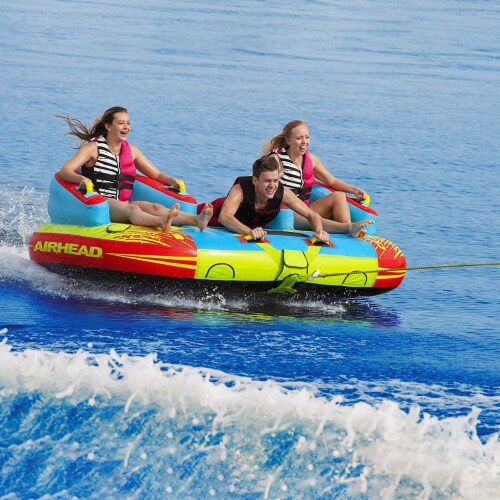 Airhead 1-3 Rider Challenger Inflatable Towable Boating Water Sports Lake Tube Perspective: left