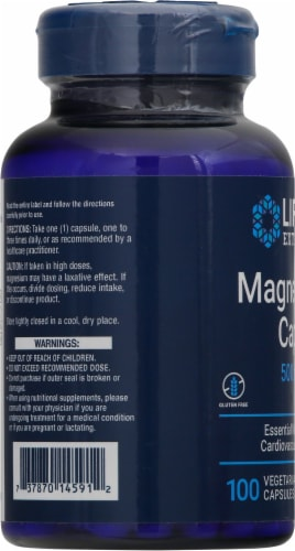 Life Extension Magnesium Caps 500mg Perspective: left