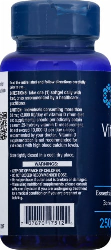Life Extension Vitamin D3 Softgels 1000 IU Perspective: left