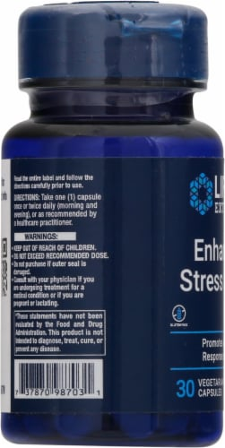 Life Extension Enhanced Stress Relief Vegetarian Capsules Perspective: left