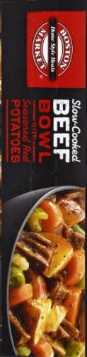Boston Market Slow-Cooked Beef Bowl with Seasoned Red Potatoes Frozen Meal Perspective: left