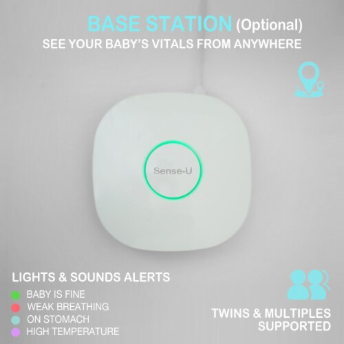Sense-U Baby Monitor: Tracks Baby's Breathing Movement, Sleep Position, Ambient Temperature Perspective: left