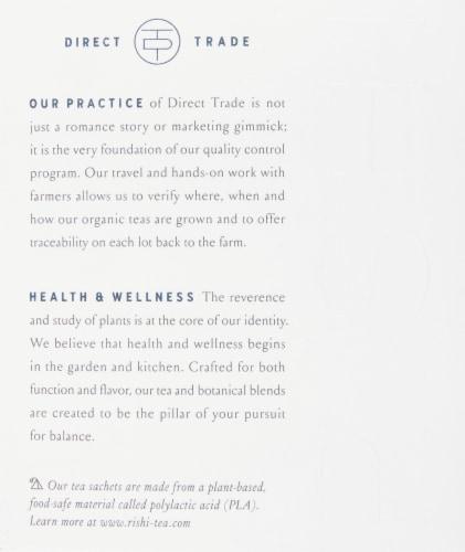 Rishi Tea Earl Grey Organic Scented Black Tea Sachets Perspective: left