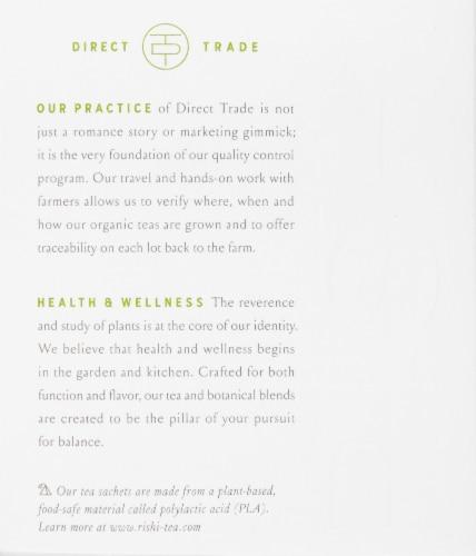 Rishi Matcha Super Green Organic Green Tea Sachets Perspective: left