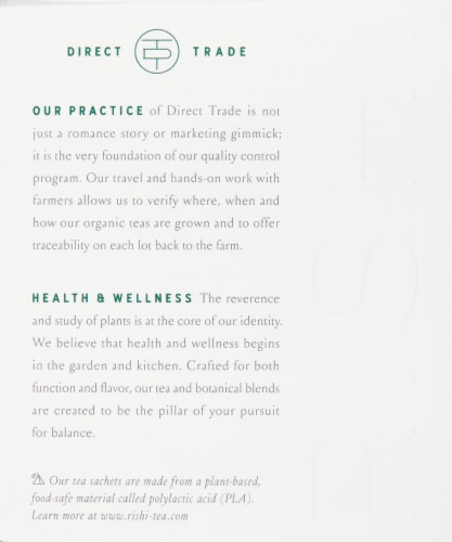 Rishi Tea Sencha Organic Green Tea Sachets Perspective: left