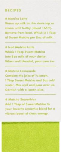 Rishi Sweet Matcha Japanese Loose Green Tea Latte Mix Perspective: left