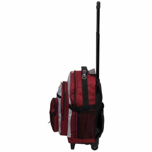 Everest Deluxe Wheeled Backpack - Burgundy / Gray / Black Perspective: left