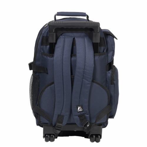 Everest Deluxe Large Wheeled Backpack - Navy Perspective: left