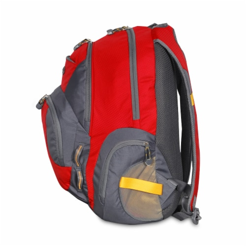 Everest Deluxe Traveler's Laptop Backpack - Red/Gray Perspective: left