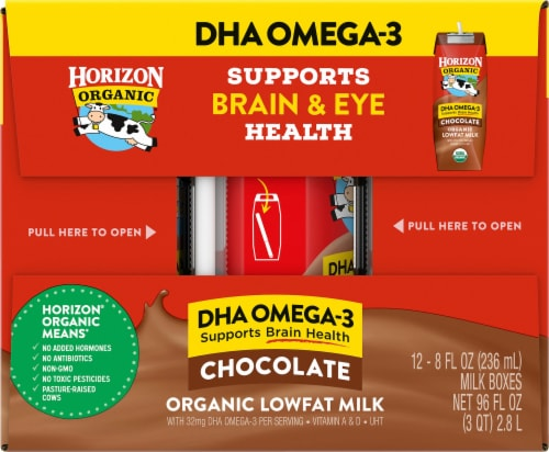 Horizon Organic DHA Omega-3 Lowfat Chocolate Milk Boxes Perspective: left