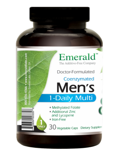Emerald Men's 1-Daily Multivitamin Vegetable Caps Perspective: left