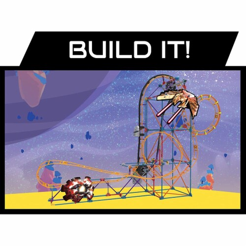 K'NEX Thrill Rides - Space Invasion Roller Coaster Building Set with Ride It! App - 438 Piece Perspective: left