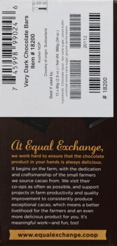 Equal Exchange Organic 71% Cacao Very Dark Chocolate Bar Perspective: left