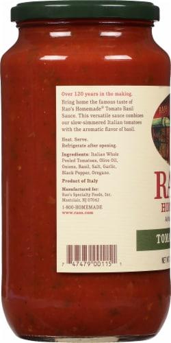 Rao's Homemade Tomato Basil Pasta Sauce Perspective: left