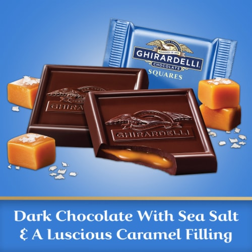 Ghirardelli Sea Salt Caramel Filled Dark Chocolate Squares Perspective: left