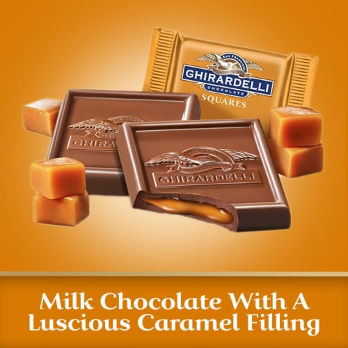 Ghirardelli Milk Chocolate with Caramel Filling Squares Perspective: left