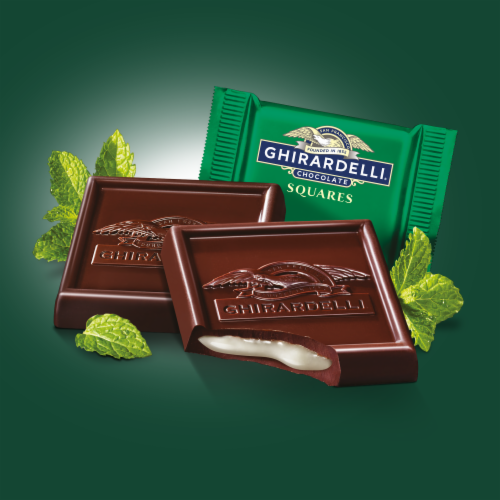 Ghirardelli Mint Filled Dark Chocolate Squares Perspective: left