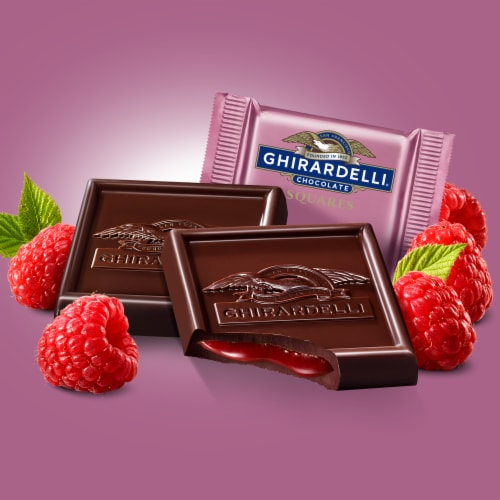 Ghirardelli Raspberry Filled Dark Chocolate Squares Perspective: left