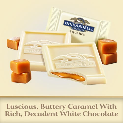 Ghirardelli White Chocolate with Caramel Filling Squares Perspective: left