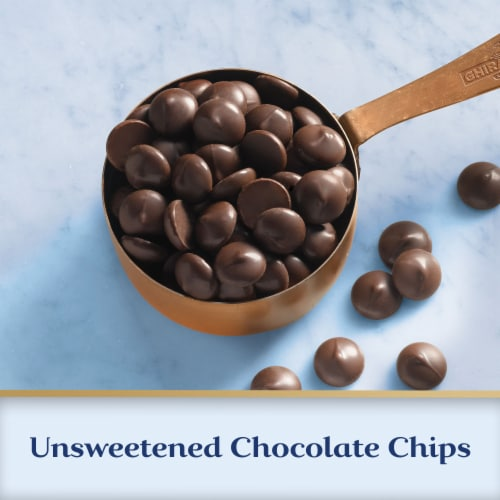 Ghirardelli 100% Cacao Unsweetened Chocolate Chips Perspective: left